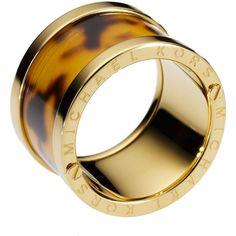 Michael Kors Tortoise-Design Barrel Ring found on Polyvore