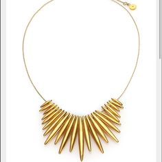 New Michael Kors Tribal Matchstick Spike Necklace Stunning!!! Michael Kors Tribal Gold Matchstick Spike Pendant adjustable statement necklace, never worn with tags still on, originally $250.00! This is beautiful!!! 100% AUTHENTIC Stainless steel gold tone! Lobster closure & Extension chain with Michael Kors signature logo! NWT! Michael Kors Jewelry Necklaces