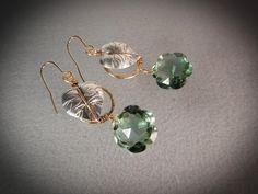 Green Amethyst Topaz quartz with fine silver leaves gold filled wire wrapped earrings/Handmade earrings/Flower earrings/Green topaz #handmadejewelry #earrings #green