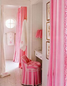 Wow! Candy stripe pink curtains!