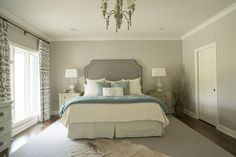 photo by Med Dement  #bedroom #calm #serene #calmbedroom #chaise #chaiselounge #plush #chandelier #tv #curtains #chattanooga #cha #furrug #calming #headboard #fabricheadboard