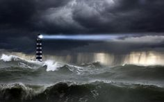 Images For > Lighthouse Storm Man