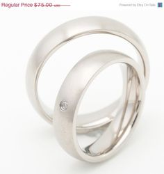 ON SALE Two Matching 5mm Titanium Wedding by FirstClassJewelry