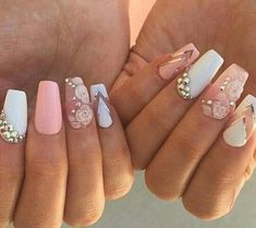 White pink and gold diamond nail art design idea acrylic nails Bling Nails, 3d Nails, Cute Nails, Pretty Nails, Acrylic Nails, Prom Nails, Coffin Nails, Nagel Bling, Diamond Nail Art