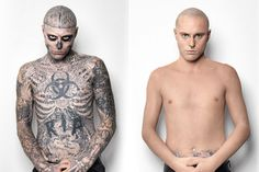 Rick Genest (aka. Zombie Boy) before and after application of Dermablend concealing make-up.  Watch the video on #YouTube: http://youtu.be/9mIBKifOOQQ