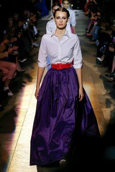 White shirt with purple taffeta ballgown and oversized belt - New York Fashion Week Carolina Herrera RTW Fall 2018