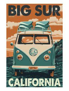 big sur california poster bus | Big Sur, California - VW Van Blockprint Art by Lantern Press at ...
