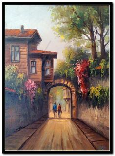 Flower Painting Canvas, Pour Painting, Beautiful Artwork, Beautiful Pictures, Landscape Paintings, Watercolor Paintings, Cottage Art, Turkish Art, Painting Wallpaper