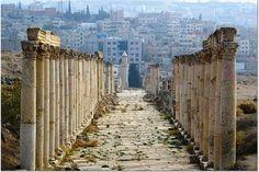 Roman Columns in Jerash, Jordan