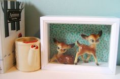 vintage deer shadow box! I had the little deer laying down when I was young.