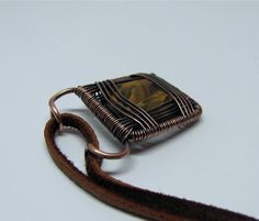 Copper Wire Wrapped Pendant with Tiger Eye in Quartz