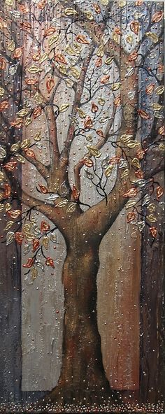 Large abstract acrylic textured tree painting by PaintingsAbstract