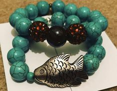 Here Fishy, Fishy Turquoise Bracelet, Beaded Bracelets, Jewelry, Style, Swag, Jewlery, Jewerly, Pearl Bracelets, Schmuck