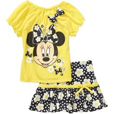 Minnie Mouse Toddler Girls' Puff Sleeve Tee and Skirt Outfit Set - Walmart.com