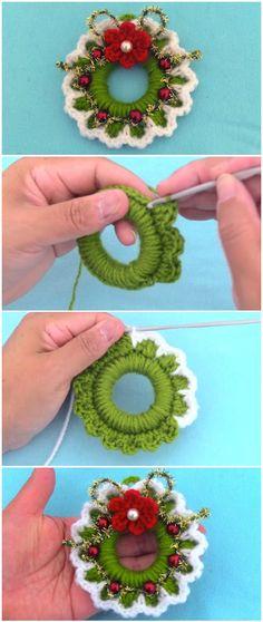 Learn To Crochet Christmas Wreath - bazaar? - Learn To Crochet Christmas Wreath Learn To Crochet Christmas Wreath - ilove-crochet Crochet Christmas Wreath, Crochet Wreath, Crochet Christmas Decorations, Crochet Ornaments, Crochet Crafts, Yarn Crafts, Crochet Flowers, Christmas Crafts, Xmas Decorations