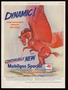 1950 Dynamic Red Pegasus Flying Horse Art Mobil Oil Gas Vintage Print Ad | eBay