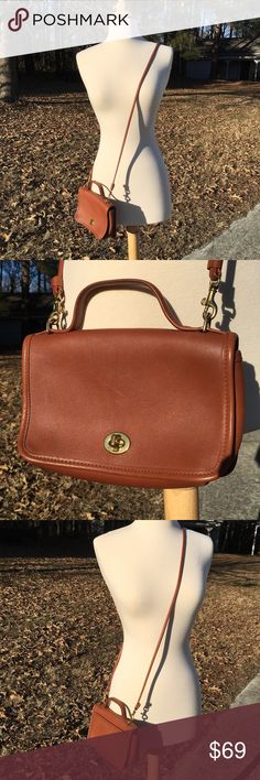 Rare Vintage Coach Penny Pocket Crossbody Bag Rare, classic vintage British Tan crossbody bag from Coach. This beauty was made in the USA! Gorgeous almost perfect condition. This classic bag will only grow more beautiful with time. Hangtag is missing. No tears stains or odors other than the natural scent of leather. Measures approx 8 in. Let this classic piece of American fashion elevate your look! Coach Bags Crossbody Bags