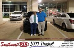 My son asked me to visit Southwest KIA, Mesquite and speak with Jaime since Jaime has given my son fantastic customer service. I bought a new car this evening because of Jaime's wonderful service and Mr. Boury's service. It was a pleasure working with both gentlemen, painless, they explained everything to me, got a great price. I am very pleased. I will be back! A big thank you to both Jaime and Constantine. Wonderful experience and a gooooooood car to boot!!! Kathy Logan, Friday 4/15/2016…