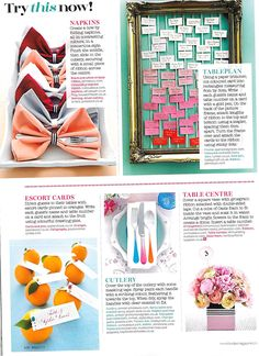 Brides December 2016 Issue. The bow ties feature our Arabian Sandstorm Fine Silk Grosgrain. Wrapping the small present is our Old Fuchsia Ombre Wired Ribbon. Around the flowers is our Crow Black Striped Taffeta ribbon.