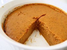 Crustless Pumpkin Pie.  Weight Watchers points plus = 2 PPV per slice.  This is very tasty, even without the crust!