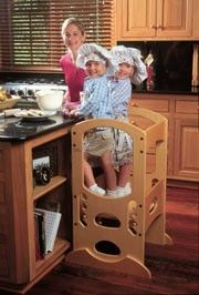 """Wooden """"Learning Tower"""" with adjustable heights. Lets the little ones work safely at the kitchen counter. Toddler Kitchen Stool, Kitchen Step Stool, Learning Tower, Magical Home, Science Toys, Natural Toys, Craft Activities For Kids, Toy Boxes, Kids House"""
