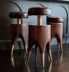 Blackman Cruz Celebrates Its 20th Anniversary With Edgy New Collections.  David Cruz's adjustable-height Molar barstool of walnut, patinated brass, and leather—like pulling teeth, but better. Pinned by Secret Design Studio, Melbourne. www.secretdesignstudio.com