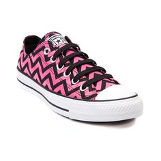 Shop for Converse All Star Lo Chevron Sneaker in Black Pink Chevron at Journeys Shoes. size 8 in womens Converse Shop, Cool Converse, Outfits With Converse, Converse Outlet, Converse Sneakers, Converse Chuck Taylor All Star, Converse All Star, Chuck Taylor Sneakers, Bags