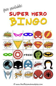 Free Printable Superhero Bingo Game—perfect for birthday parties! | Fireflies and Mud Pies: