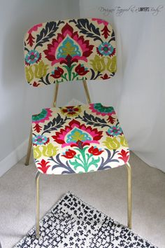 "Come learn how to ""upholster"" a chair with fabric and mod podge for a BOLD look…"