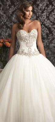 2013 Allure Bridal - White & Silver Satin & Organza Chapel Train Wedding Dress