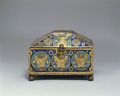 Chrismatory:  This ornamented box probably once contained holy oils, the use of which at baptism is noted by early Christian writers. Oils were also used for other sacraments, such as confirmation, the ordination of priests, and extreme unction, and for the consecration of churches. Few medieval containers for holy oils survive.
