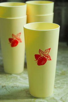 summery strawberry cups use the cameo to cut out cute designs for the cups.