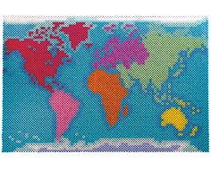 This world map of the 7 continents is a great way for kids to understand basic geography. They can also use pins to mark the places they have visited, or locations of world events. Designed By Lennis Rodriguez. Pearler Bead Patterns, Perler Patterns, Pearler Beads, Hama Art, Anime Pixel Art, 8bit Art, Pixel Pattern, Melting Beads, Beaded Cross Stitch