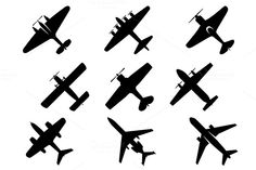 Black vector aircraft silhouette icons showing a range of fixed wing and commercial airplanes from below. EPS and JPEG files are in archive