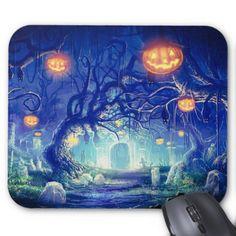 Super Spooky Graveyard Mouse Pad - Halloween happyhalloween festival party holiday
