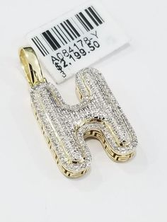 34694bc1622 100% Real 10K Yellow Genuine Diamonds Alphabet Initial H Letter Pendant  Charm by RG&D