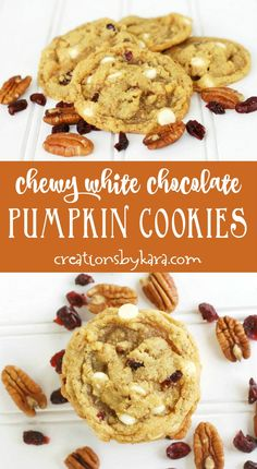 These Chewy Pumpkin White Chocolate cookies are perfect for fall baking! My favo… These Chewy Pumpkin White Chocolate cookies are perfect for fall baking! My favorite pumpkin cookie recipe. Pumpkin Cookie Recipe, Pumpkin Spice Cookies, Pumpkin Dessert, Pumpkin Recipes, Fall Cookie Recipes, Fall Recipes, Köstliche Desserts, Delicious Desserts, Dessert Recipes