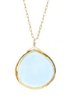 MRE Jewelry Blue Chalcedony Teardrop Pendant Necklace