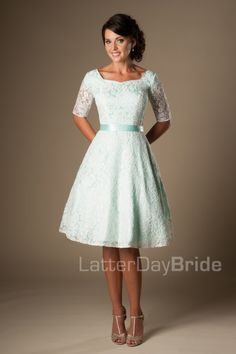 short modest homecoming gowns with lace and half sleeves, the Reagan at LatterDayBride