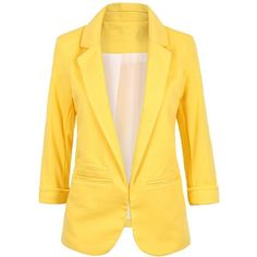 Nanafast Women's Boyfriend Ponte Rolled Sleeves Blazer at Amazon... (£22) ❤ liked on Polyvore featuring outerwear, jackets, blazers, blazer, yellow blazer jacket, ponte jacket, ponte blazer, rolled sleeve blazer and yellow jacket
