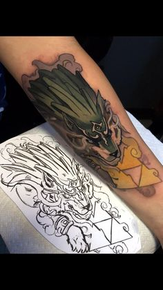 Wolf Link done by Mike Randazzo of Pride n Envy Tattoos. Wolf Link done by Mike Randazzo of Pride n Envy Tattoos. King Tattoos, Tattoos Skull, Wolf Tattoos, Black Tattoos, Body Art Tattoos, Sleeve Tattoos, Tatoos, Kissimmee Florida, The Legend Of Zelda