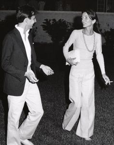 Lee Radziwill & Fred Hughes at a Montauk Village Association Cocktail Party in Montauk, Long Island, 1973.