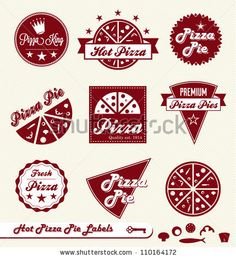stock vector : Vector Set: Pizza Pie Labels and Badges with Toppings Elements