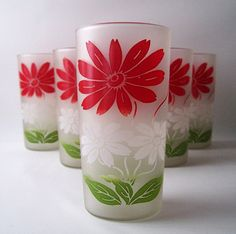 perfect for our kitchen!  vintage frosted highboy tumbler glassware set by RecycleBuyVintage, $20.00