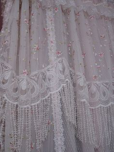 Shabby chic fabric for whatever! Lace Shower Curtains, Shabby Chic Shower Curtain, Rose Curtains, Shabby Chic Curtains, Drapes Curtains, Shabby Chic Decor, Victorian Curtains, Victorian Lace, Vintage Room