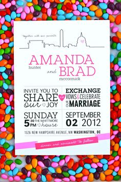 Modern, bright Washington DC wedding invitations ~ more on the blog from Tabibi Design