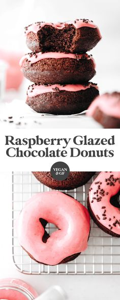 Fluffy baked chocolate donuts with a tangy-sweet raspberry glaze! Healthy-ish thanks to sunbutter, maple syrup, and oat flour. Easy to make, easier to eat! Donuts Vegan, Vegan Donut Recipe, Baked Donuts, Donut Recipes, Doughnuts, Flour Recipes, Best Vegan Recipes, Vegan Dessert Recipes, Desert Recipes