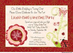 Red Ladybug Birthday Invitation - Little Backyard Bug Party