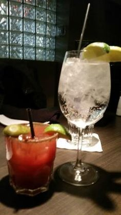 Caesar and Tonic Water made to look fancy in a wine glass, Echo Restaurant & Wine Bar  |  3130 V