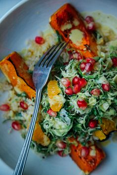 salty maple squash with ginger scallion rice + turmeric brussels slaw »the first mess